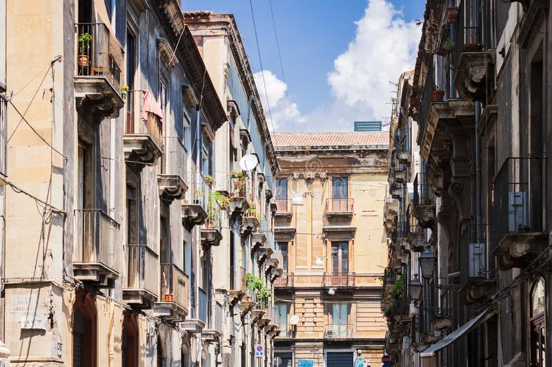 Travel to Italy - historical street of Catania, Sicily, facade of ancient buildings.  stock photos