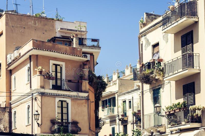Travel to Italy - historical street of Taormina, Catania, Sicily, facade of old buildings.  royalty free stock photo