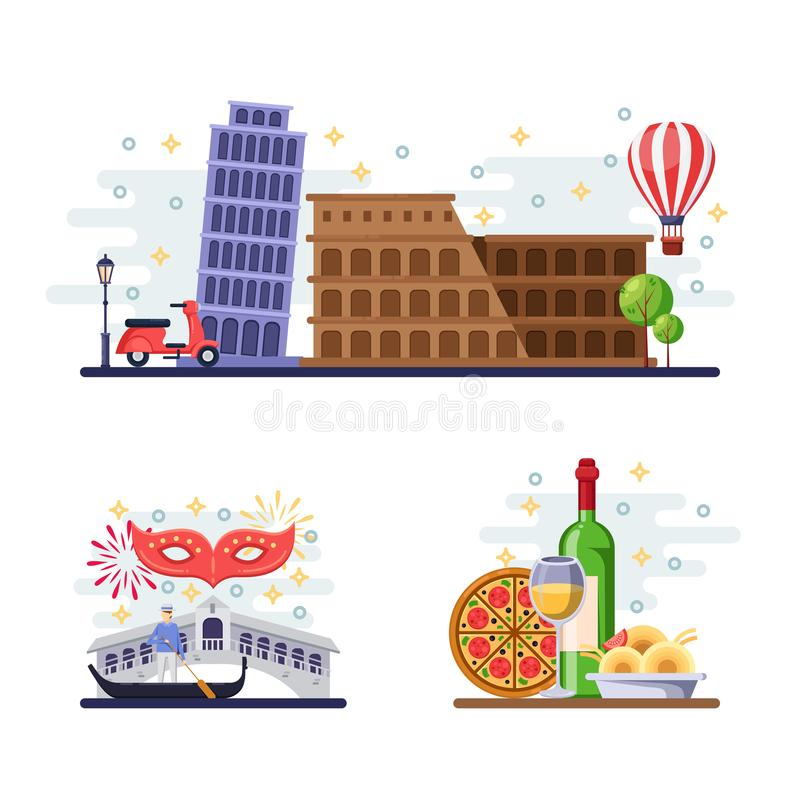 Travel to Italy vector flat illustration. Rome, Pisa, Venice city symbols, landmarks and food. Italian design elements vector illustration