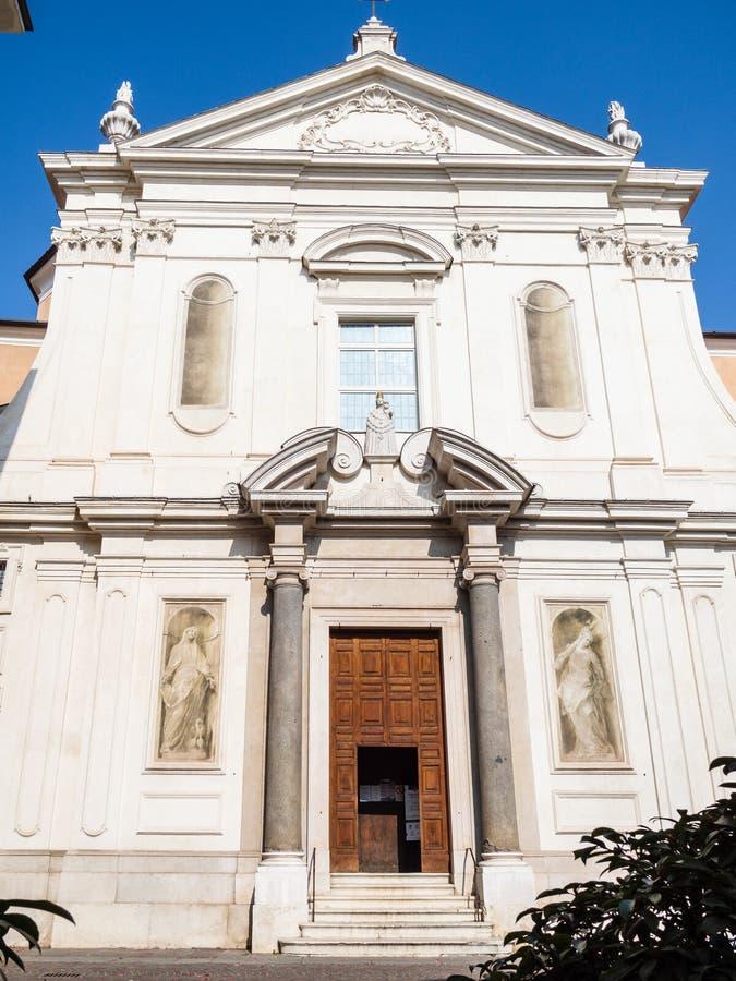 View of church Santa Maria della Carita in Brescia. Travel to Italy - view of church Chiesa di Santa Maria della Carita ( Chiesa del Buon Pastore, Carita) on royalty free stock image