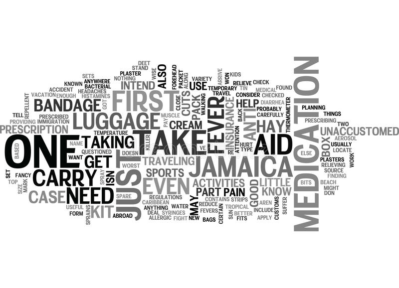 A Travel To Jamaica First Aid Kit Word Cloud stock illustration