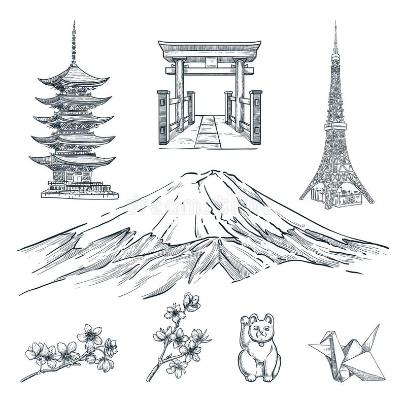 Travel to Japan hand drawn design elements. Vector sketch illustration. Tokyo famous symbols on white background royalty free illustration