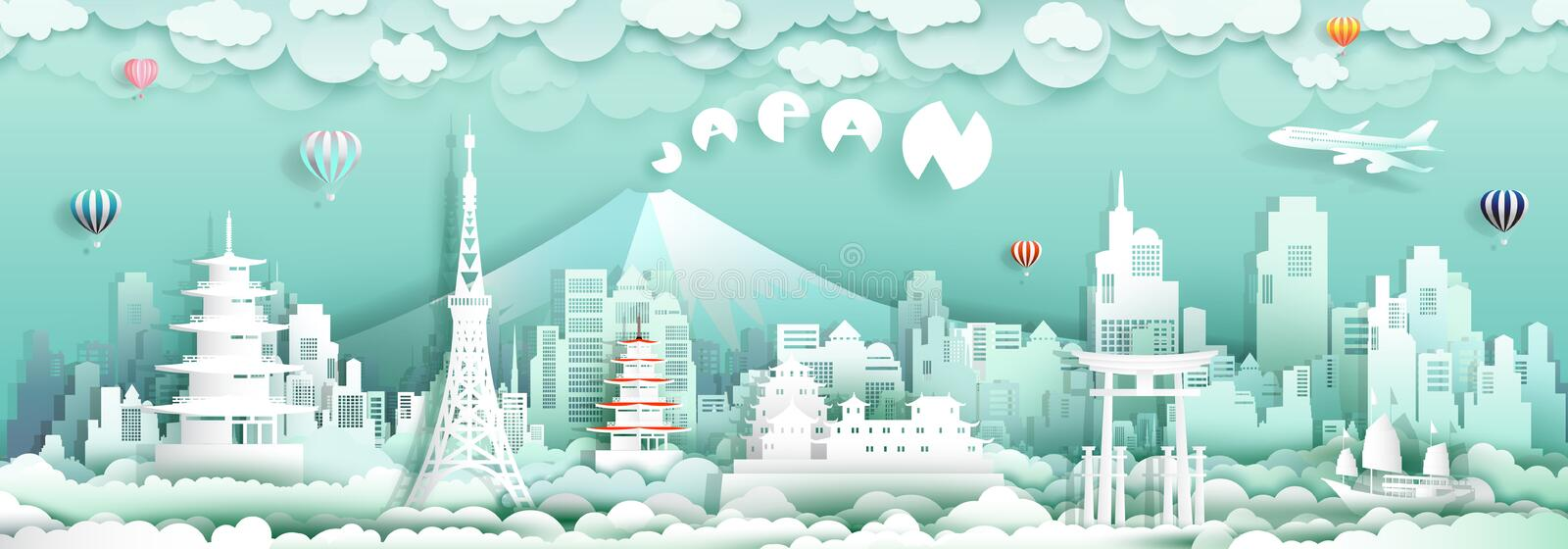 Travel to japan with panorama view landmarks of asian architecture. Culture city and tourism, Traveling landmark in Asia with paper cut origami style for travel stock illustration