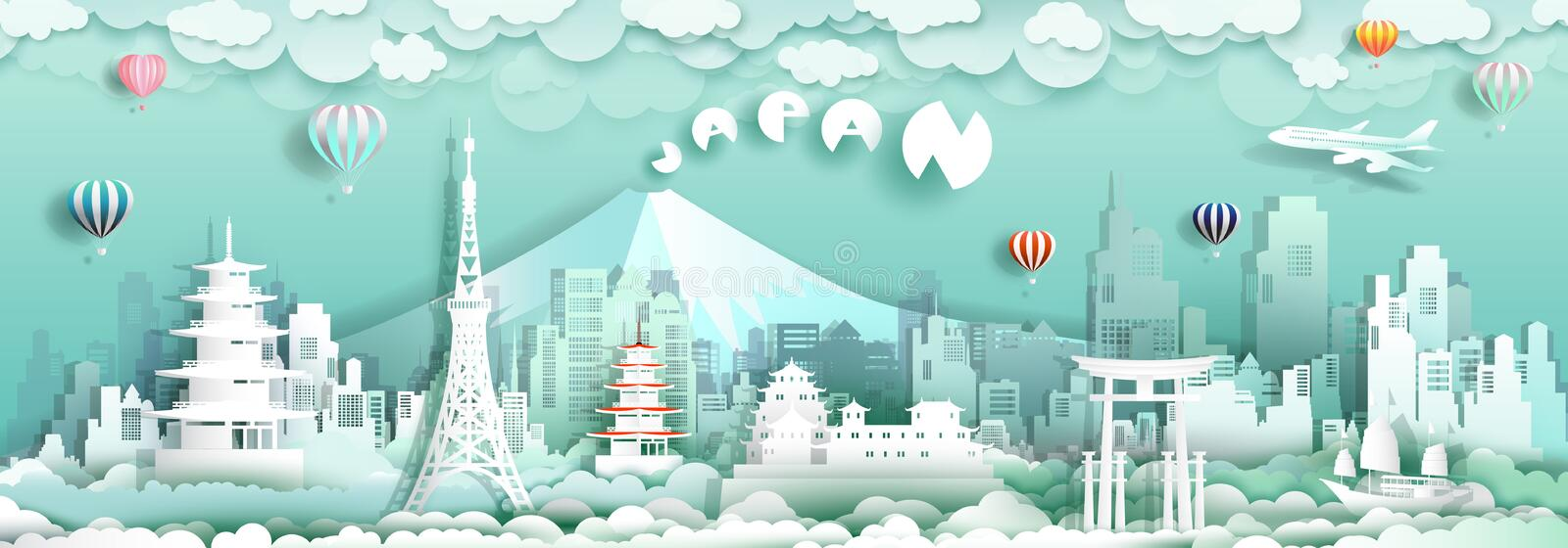 Travel to japan with sailboat landmarks of asian with architecture. Culture city and tourism, Traveling landmark in Asia with paper cut origami style for travel stock illustration