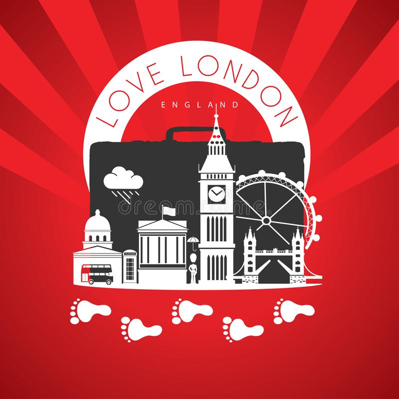 Travel to London England. Red Landmarks Monuments. Illustration and Vector from Monuments Elements and Landmarks from London. Suitacase vector illustration
