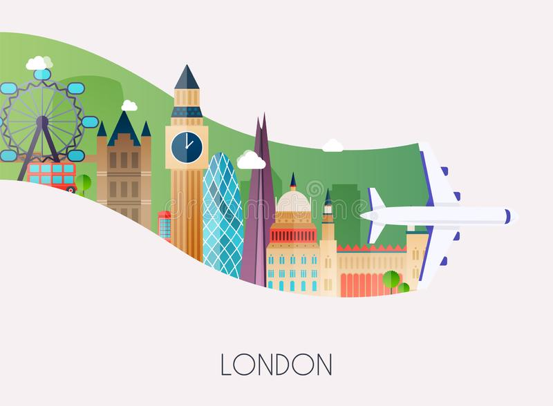 Travel to London. Traveling on airplane, planning a summer vacation, tourism and journey objects and passenger luggage. Flat stock illustration