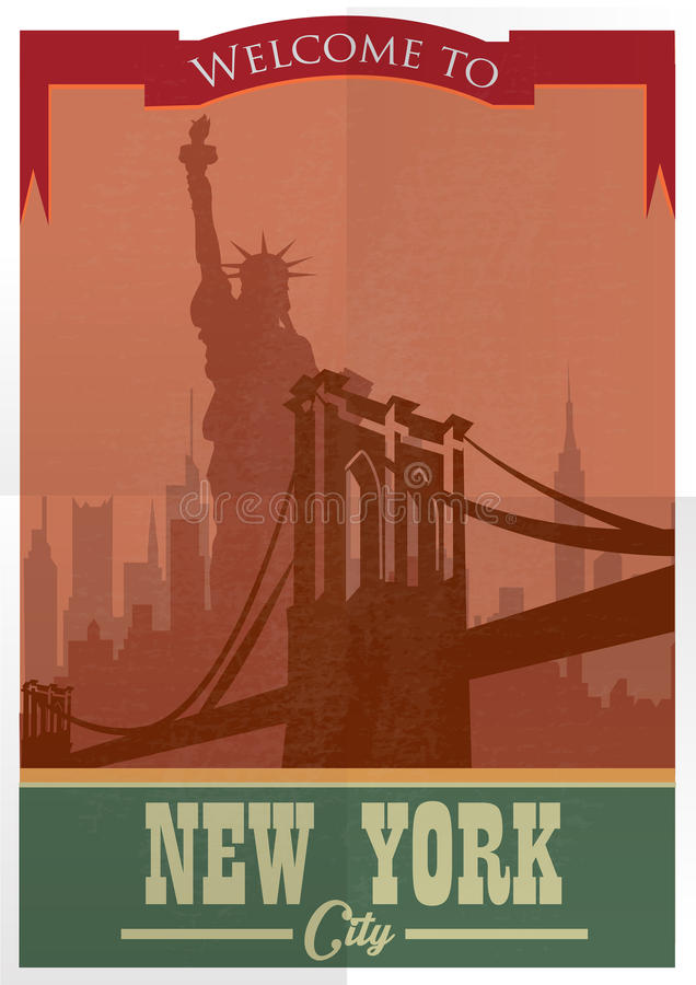 Travel to New York Poster.Vintage advertisement vector illustration