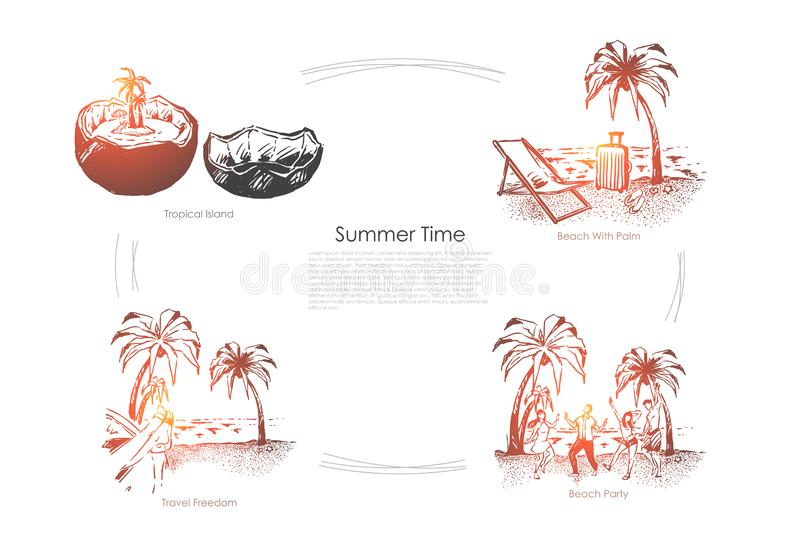 Travel to paradise island, seashore with palm trees, exotic vacation, party on sand beach, holiday season banner. Summer recreation, tropical resort concept stock illustration