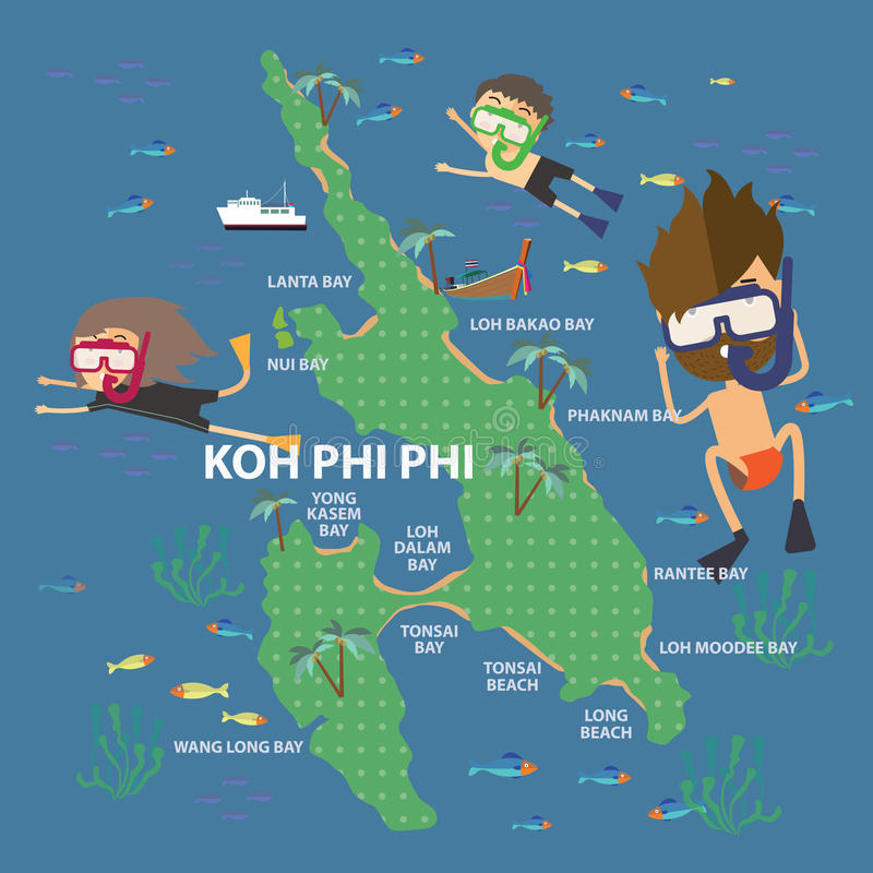The Phi Phi Beach Resort Map: Travel To Phi Phi Island Thailand Stock Vector