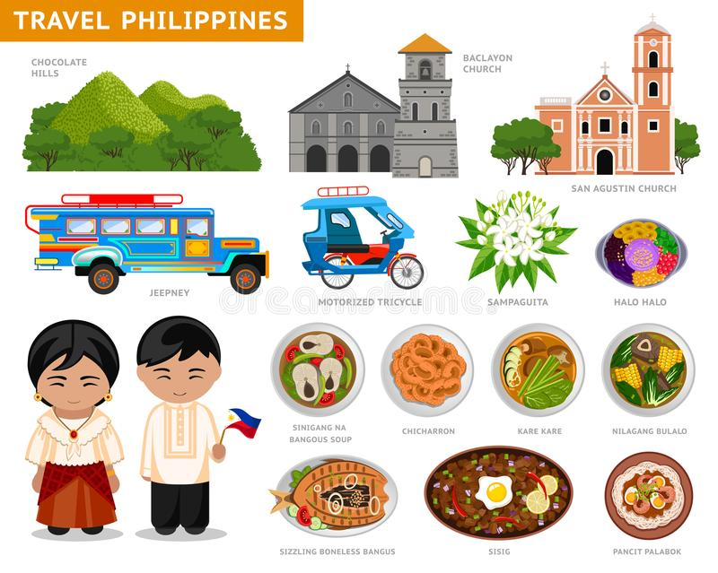 Travel to Philippines. Filipinos in national dress. royalty free illustration