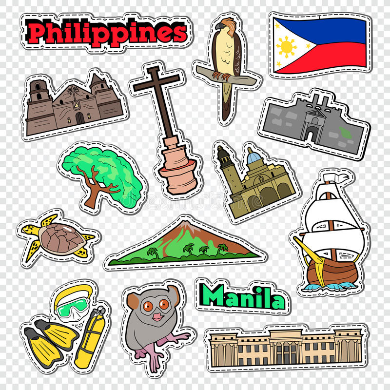 Travel to Philippines. Stickers, Badges and Patches with Philippines Architecture, Animals and Nature vector illustration
