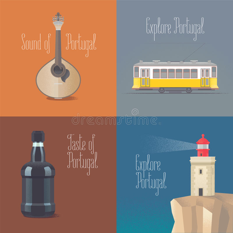 Travel to Portugal concept vector illustrations. Fado guitar, old tramway in Lisboa, porto wine. Cartoon style design for visit Portugal and Lisbon posters royalty free illustration
