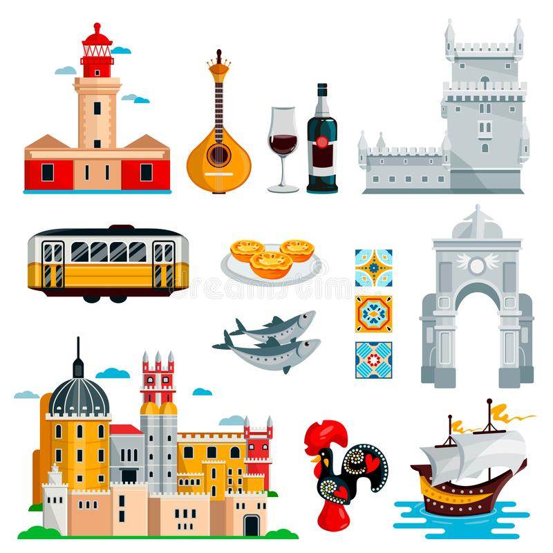 Travel to Portugal icons and isolated design elements set. Vector Portuguese and Lisbon culture symbols, food, landmarks. Travel to Portugal icons and isolated stock illustration