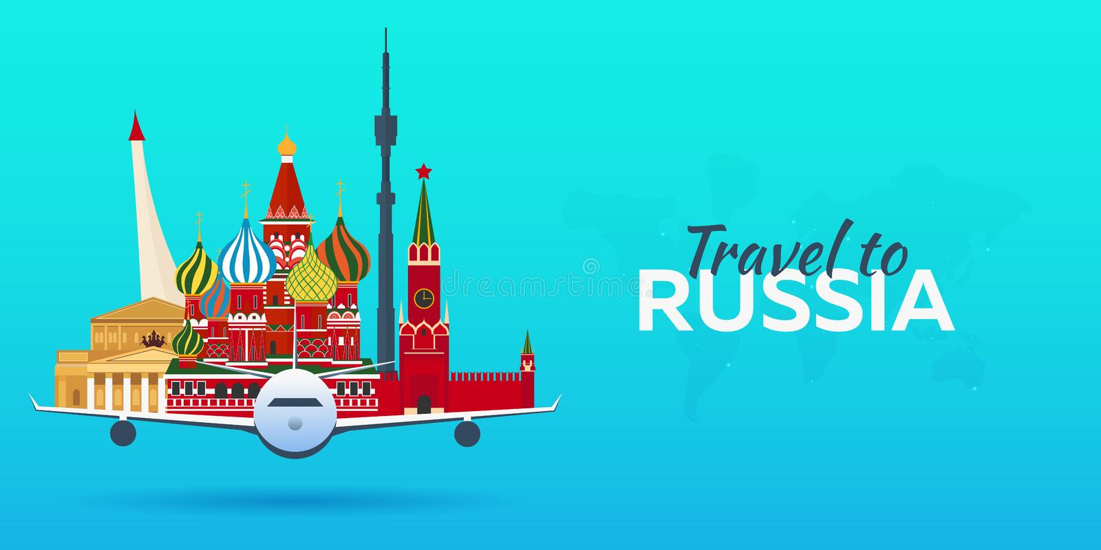 Travel to Russia. Airplane with Attractions. Travel banners. Flat style. vector illustration