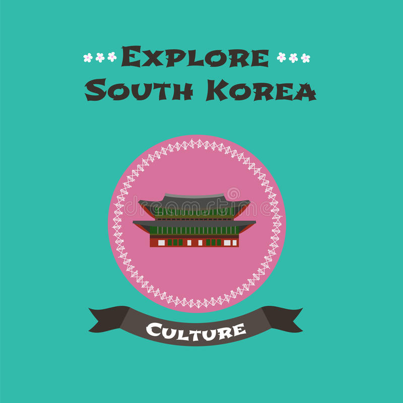 Travel to South Korea concept illustration. Ancient Gyeongbokgung fortress in Seoul. Cartoon style design, clip art for visit South Korea vector illustration