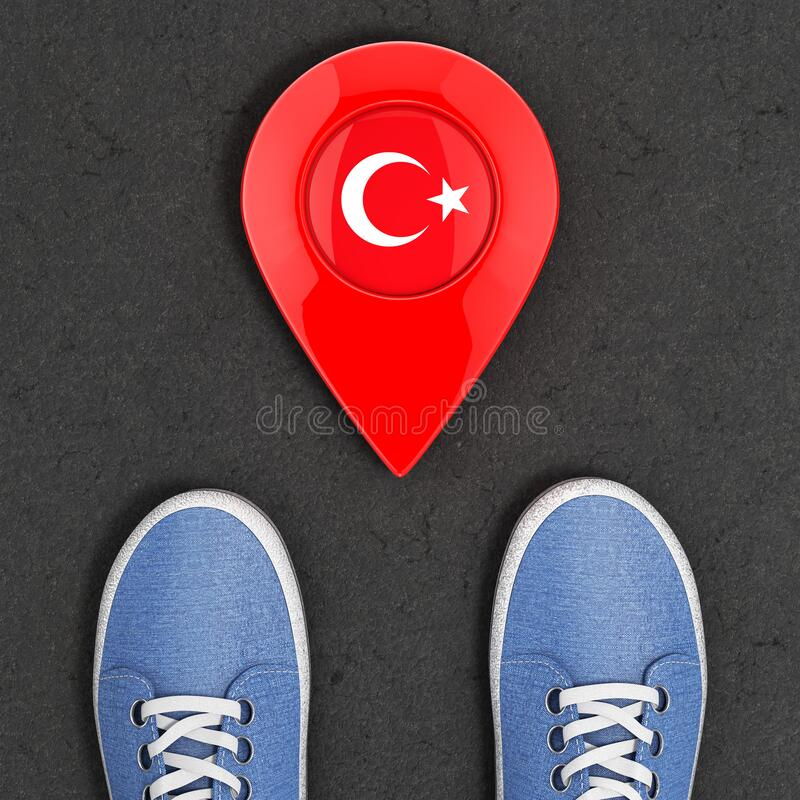 Travel to Turkey Concept. Blue Denim Sneakers on the Asphalt Road with Map Pointer and Turkey Flag Top View. 3d Rendering. Travel to Turkey Concept. Blue Denim stock illustration