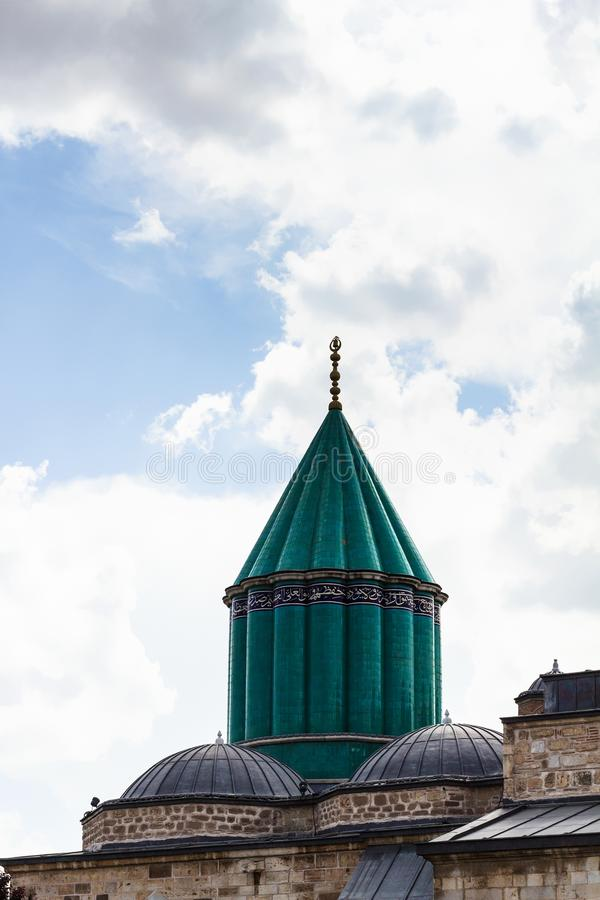 green dome of Rumi Shrine in Konya city royalty free stock photo