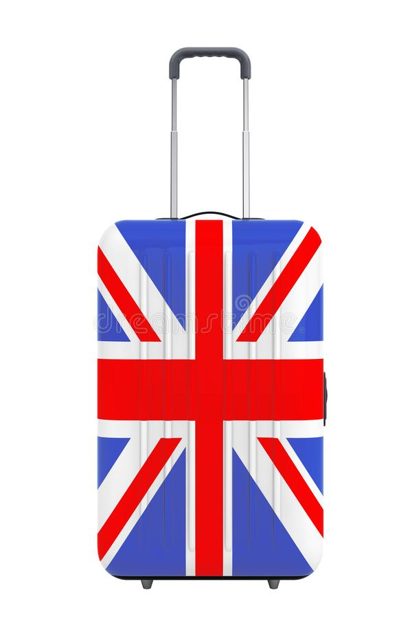 Travel to United Kingdom Concep. Suitcase with UK Flag. 3d Rendering stock illustration