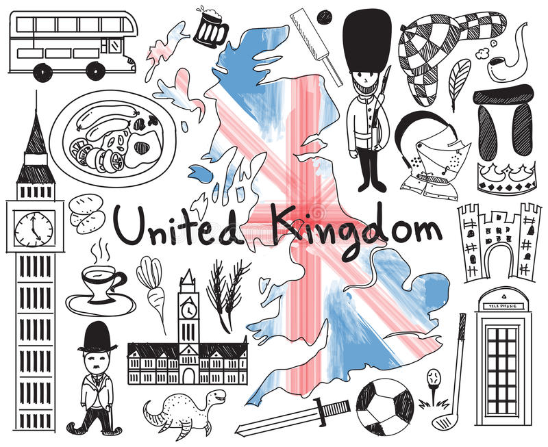 Travel to United kingdom England and Scotland doodle drawing. Icon with culture, costume, landmark and cuisine tourism concept in isolated background, create by vector illustration