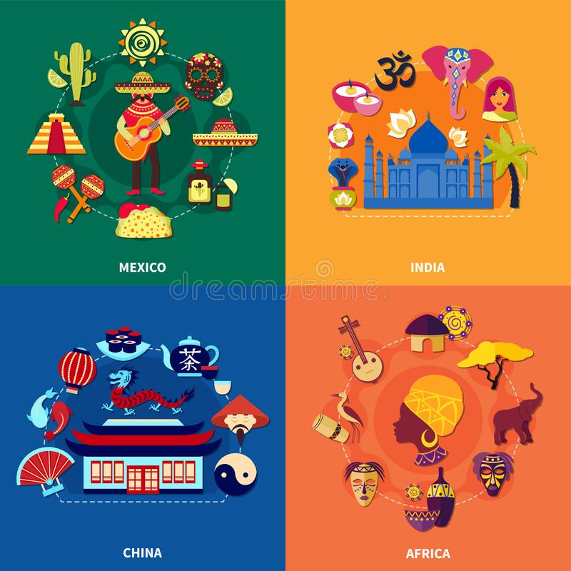 Travel To Countries Set. Travel to various countries 2x2 icons set with mexican indian chinese and african culture on colorful background flat vector royalty free illustration
