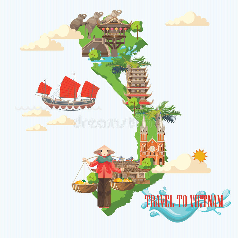Travel to Vietnam poster with green Vietnamese map stock illustration
