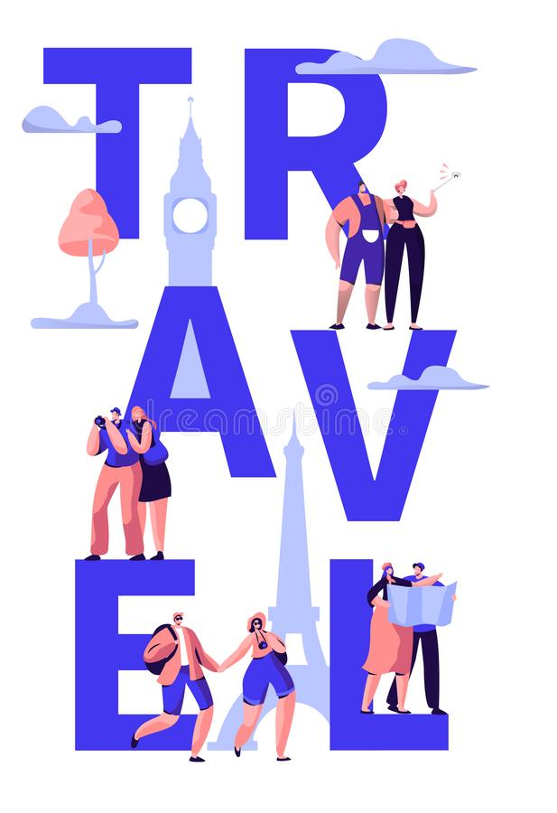 Travel Tour Around World Typography Banner Design. Holiday Trip to Europe International Sale Offer Tourism royalty free illustration
