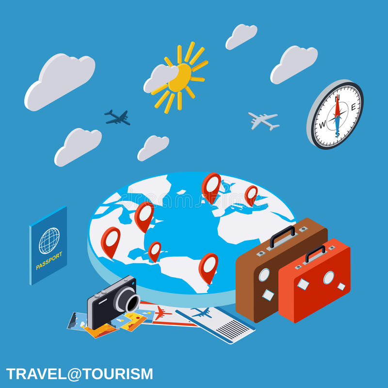 Travel, touring, vacation vector concept royalty free illustration
