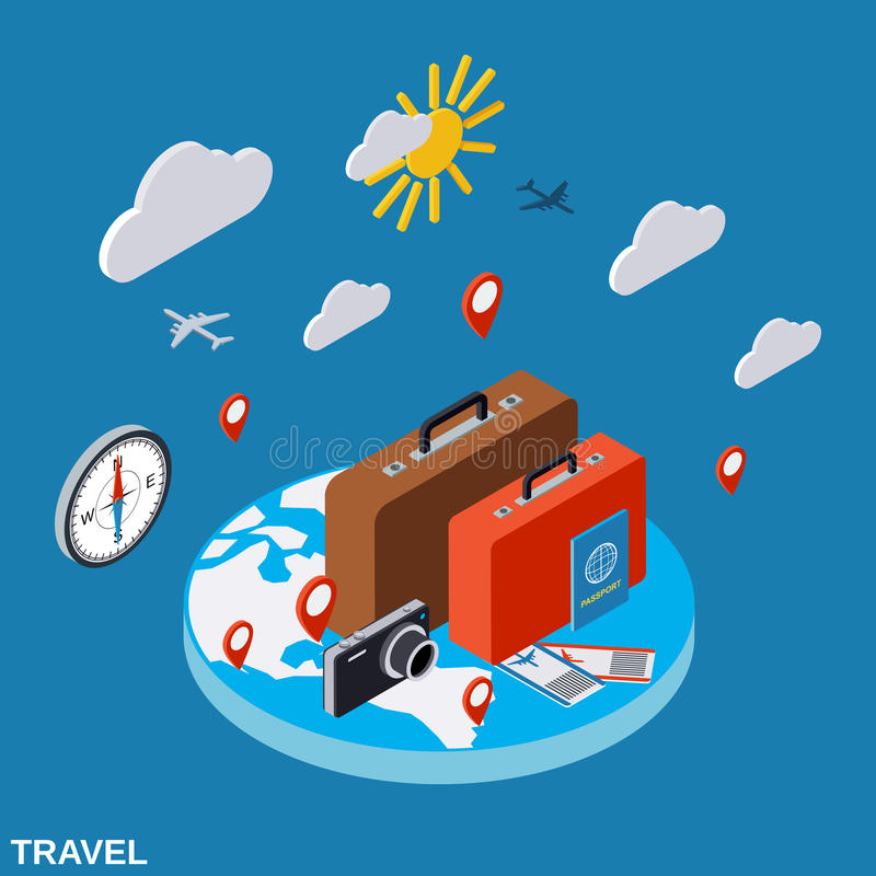 Travel, touring, vacation vector concept vector illustration