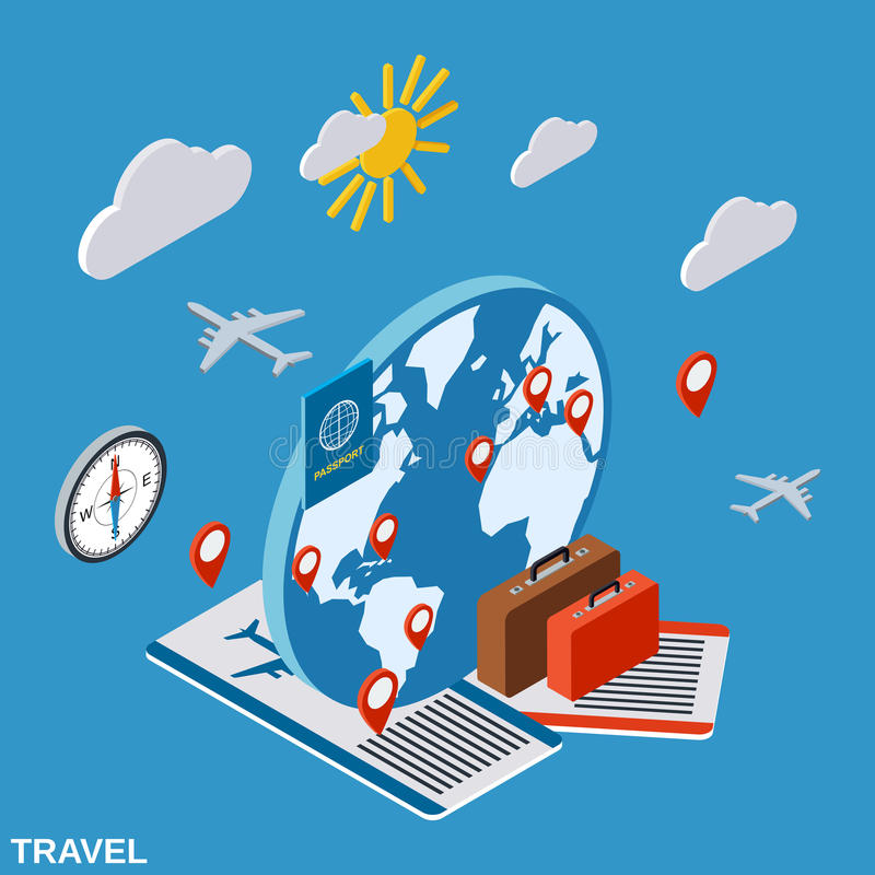 Travel, touring, vacation vector concept stock illustration