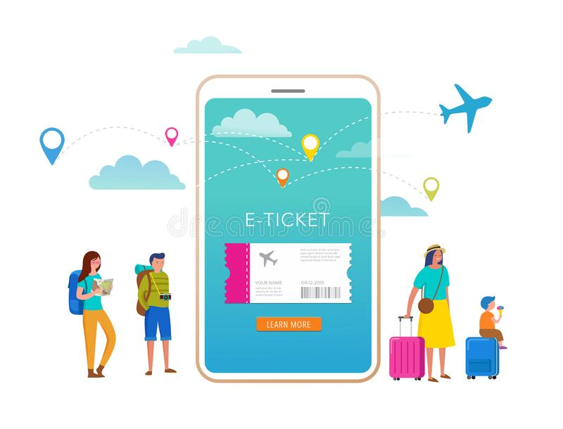 Travel, tourism, adventure scene with smartphone and miniature people, tourists in modern flat style. Vector stock illustration
