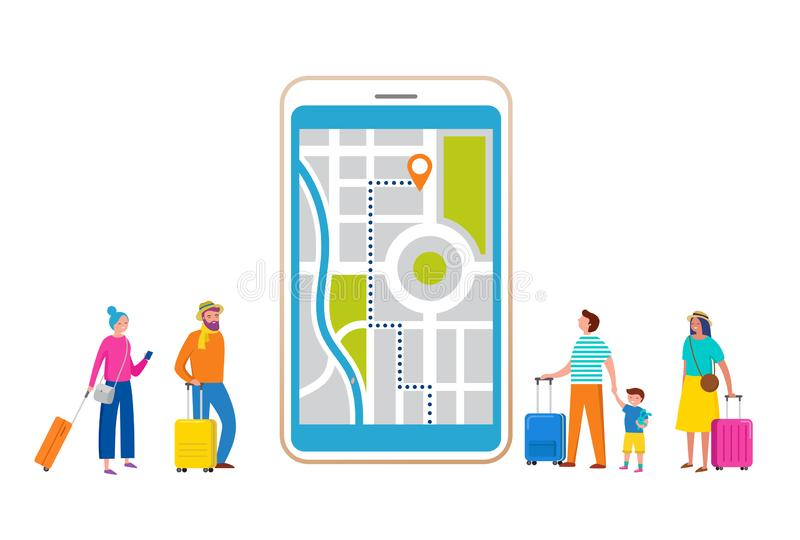 Travel, tourism, adventure scene with smartphone and miniature people, tourists in modern flat style. Vector royalty free illustration