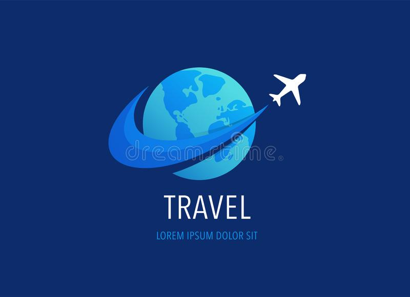 Travel, tourism agency logo design, icons and symbols stock illustration