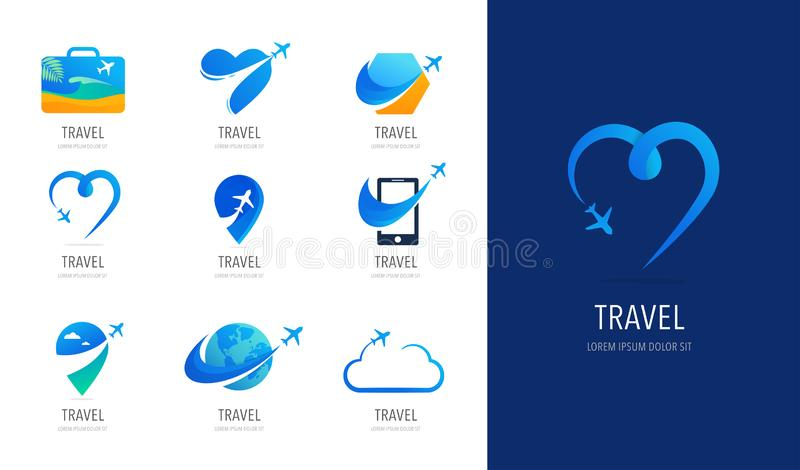 Travel, tourism agency logo design, icons and symbols royalty free illustration