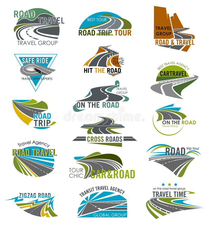 Travel or tourism agency vector road icons set. Road icons set for travel or tourist company and agency. Vector isolated curved highway or traffic lane path and vector illustration