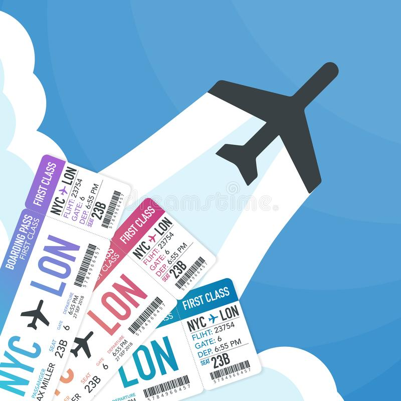 Travel and tourism background. Buying or booking online tickets. Travel, Business flights worldwide. Vector illustration. royalty free illustration