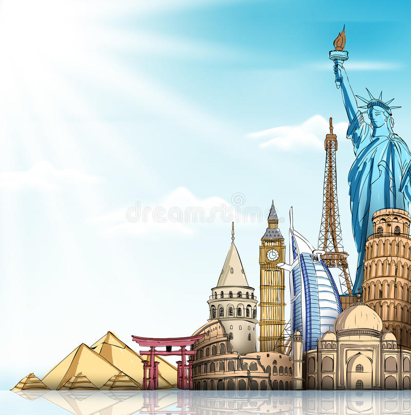 Travel and Tourism Background with Famous World Landmarks vector illustration