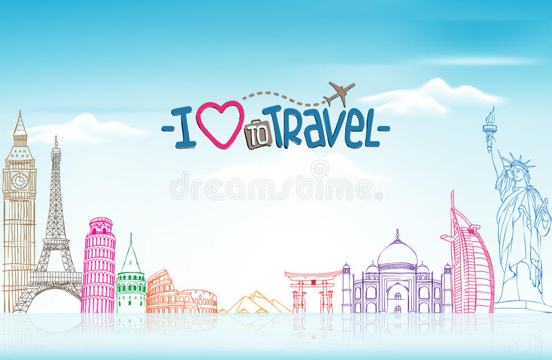 Travel and Tourism Background with Famous World Landmarks royalty free illustration