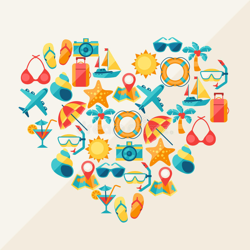 Travel and tourism background of icons in heart vector illustration