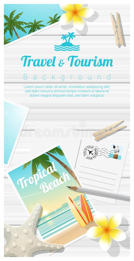 Travel and tourism background with tropical beach postcards on wooden board. Vector , illustration stock illustration