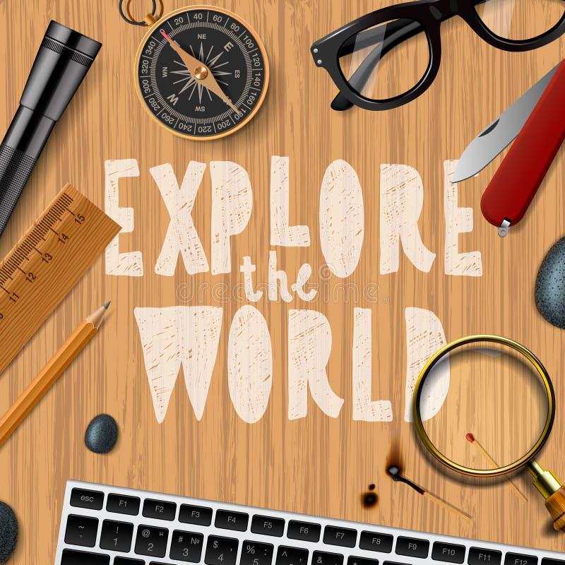Travel and tourism background. Vector illustration royalty free illustration