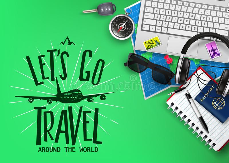 Travel or Tourism Banner with Text Let's Go Travel Logo and 3D Realistic Traveling Item Elements vector illustration