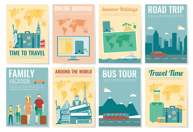 Travel And Tourism Brochure Set Template Of Magazine Poster Book