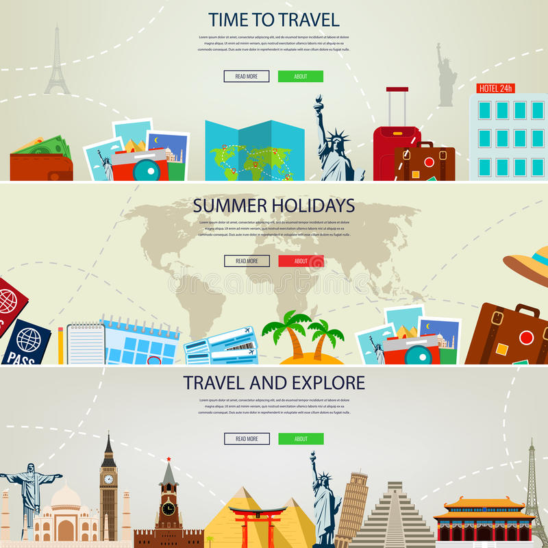 Travel And Tourism Concept Banners. Website Templates. Vector ...