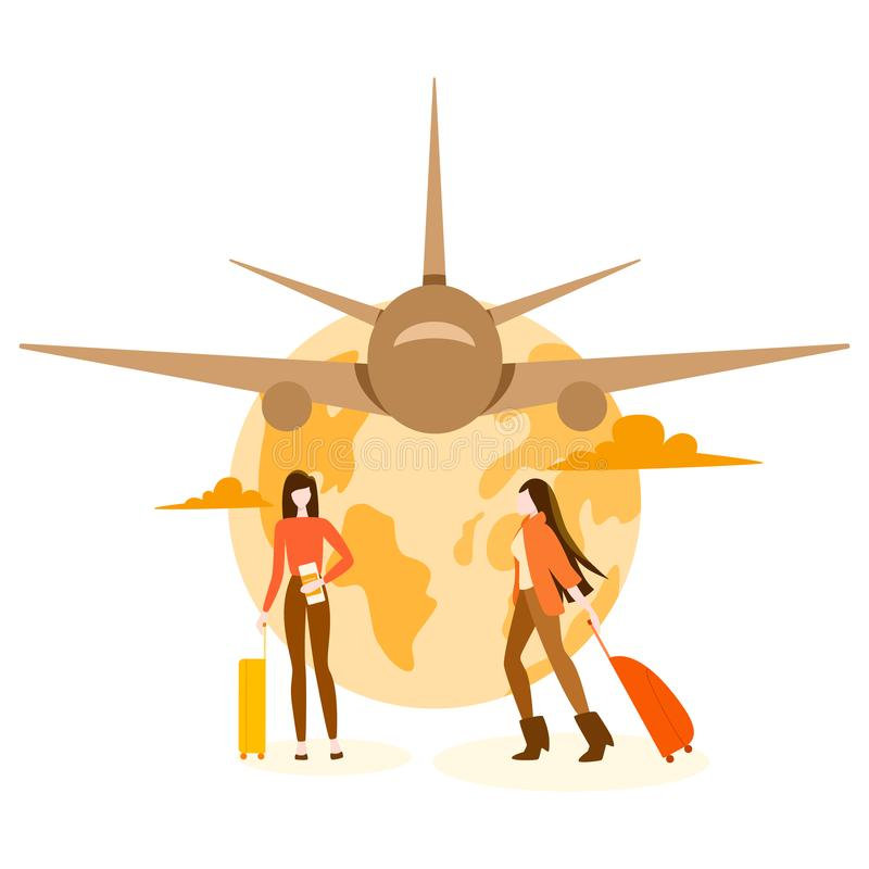Travel and tourism concept. Travel buy plane around the world stock illustration