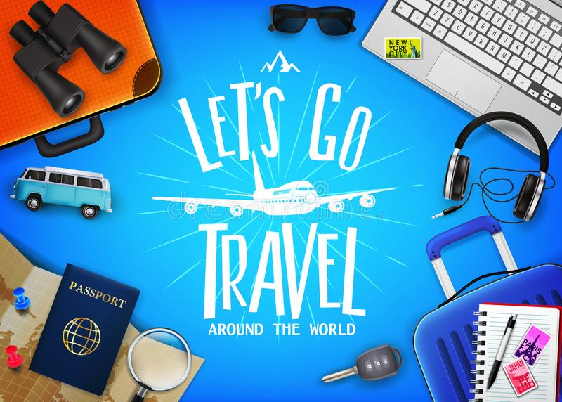 Travel or Tourism Concept with Text Let`s Go Travel Message in the Center with Realistic 3D Traveling vector illustration