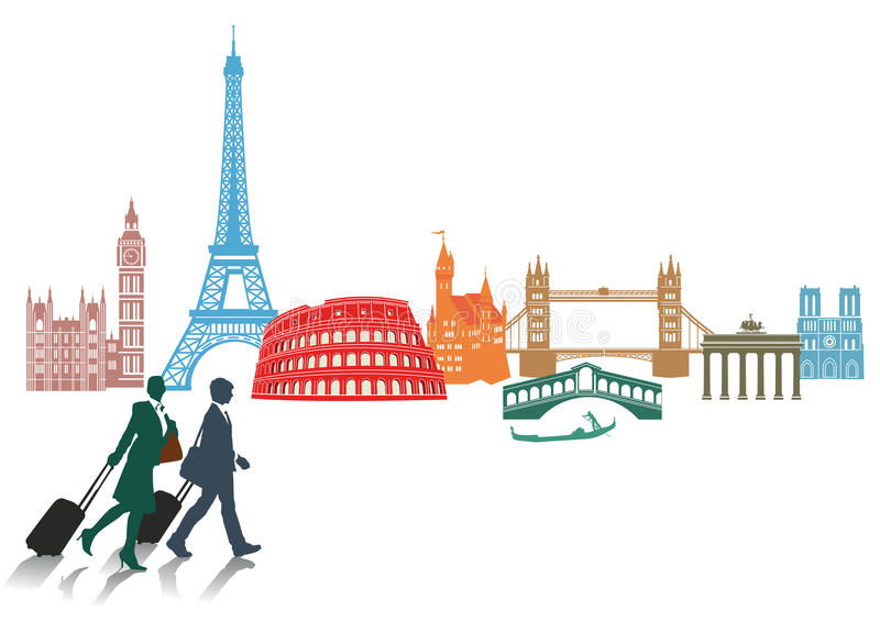 Travel and tourism in Europe. An illustration with various European landmarks
