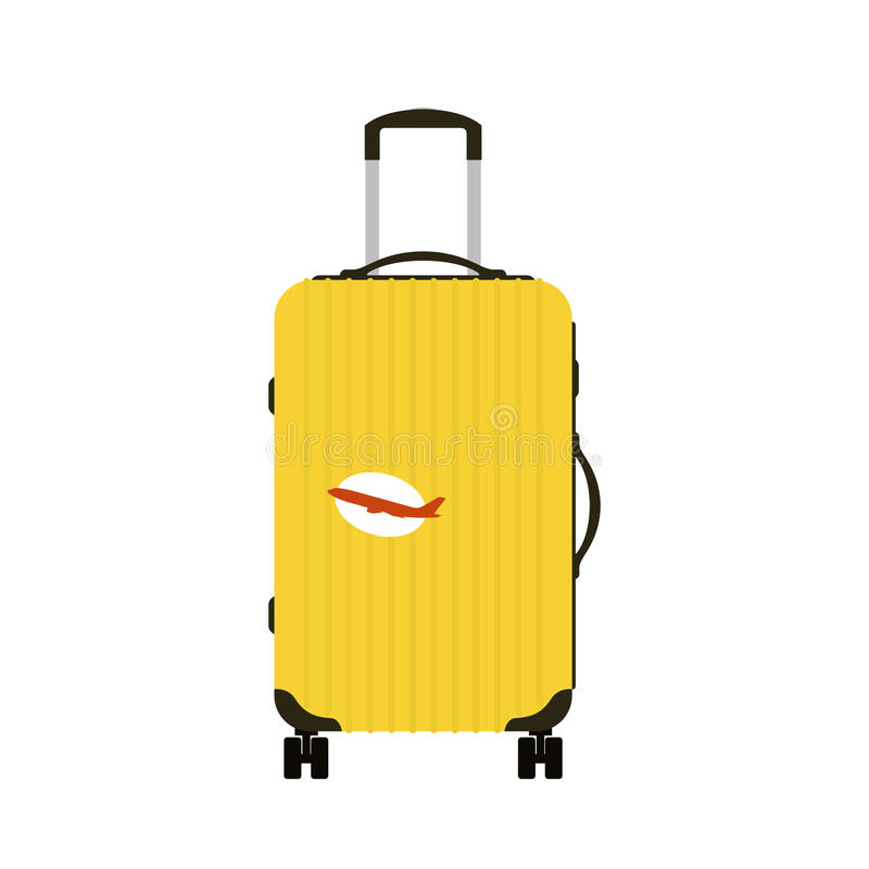 Travel tourism fashion baggage or luggage vacation handle leather big packing briefcase and voyage destination case bag. On wheels vector illustration. Journey vector illustration