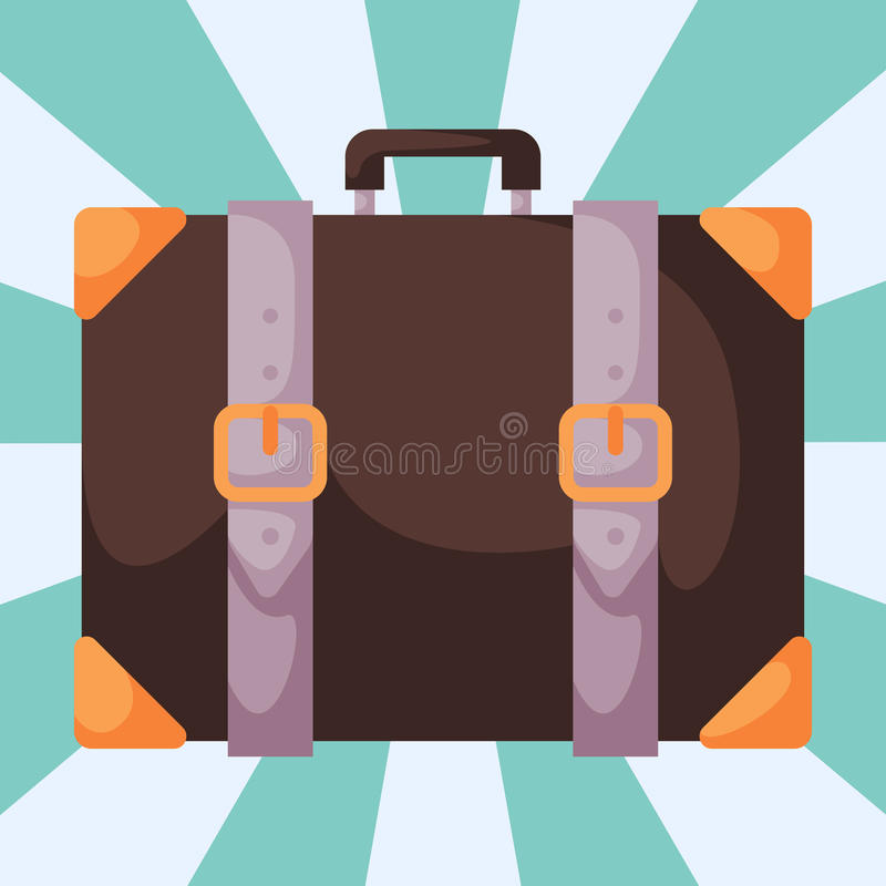 Travel tourism fashion baggage luggage vacation handle leather briefcase bag vector illustration. vector illustration