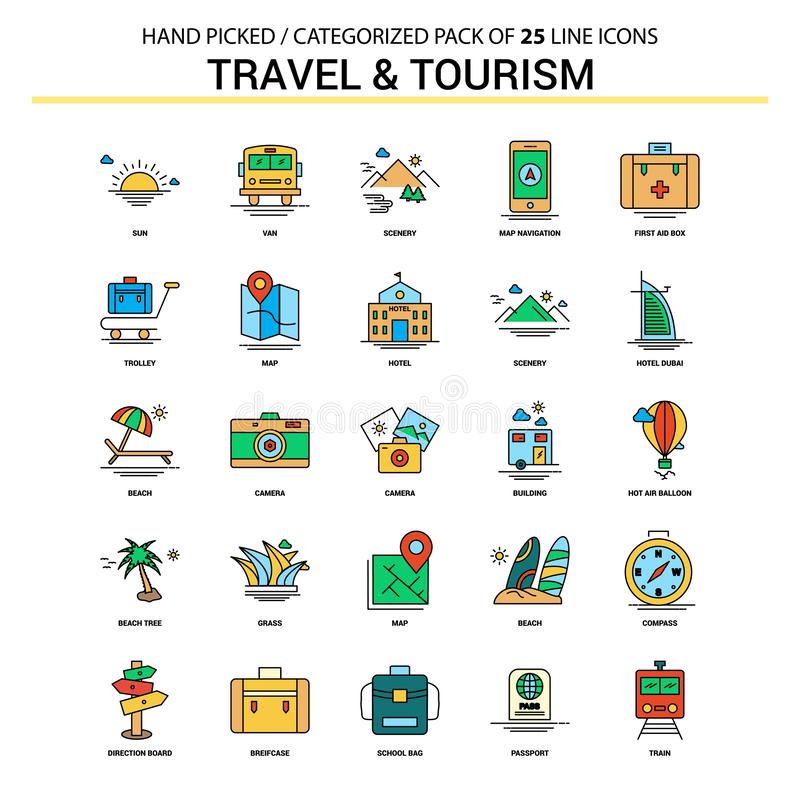 Travel and Tourism Flat Line Icon Set - Business Concept Icons D vector illustration