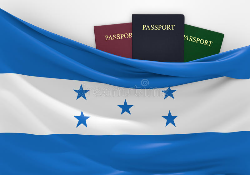 Travel and tourism in Honduras, with assorted passports. 3D rendered concept for travel and tourism in Honduras, with three assorted passports stock illustration